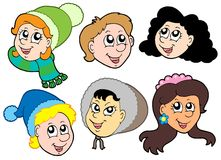 Coleção 2 das faces das crianças Fotografia de Stock