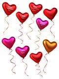 coleção 3D de balões da forma do coração Imagens de Stock