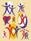Coleção 6 dos logotipos dos povos ilustração do vetor