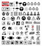 Coleção 6 dos sinais - símbolos da embalagem e do transporte Fotos de Stock Royalty Free