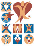 Coleção 7 dos logotipos dos povos ilustração do vetor