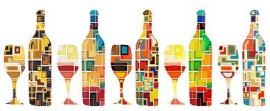Coleção abstrata do vinho ilustração royalty free