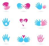 Coleção abstrata dos ícones das mãos e do amor Fotos de Stock Royalty Free