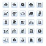 A coleção ajustada da ilustração do vetor de ícones modernos na compra e no comércio eletrônico lisos do projeto isolou o botão d Foto de Stock