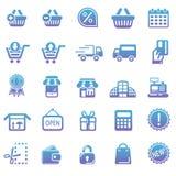 A coleção ajustada da ilustração do vetor de ícones modernos na compra e no comércio eletrônico lisos do projeto isolou a Web Foto de Stock