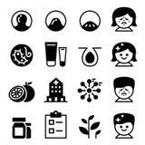 Coleção ajustada da ilustração do vetor do ícone da acne Imagens de Stock Royalty Free