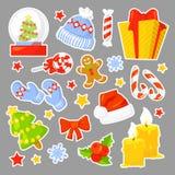 Coleção ajustada do ícone do Natal Etiquetas dos desenhos animados do vetor ilustração stock