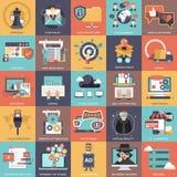 Coleção ajustada do ícone do negócio, da tecnologia, da gestão e das finanças ilustração stock