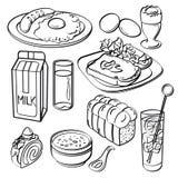 Coleção ajustada do café da manhã Fotos de Stock