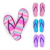 Coleção ajustada do desgaste do pé de Flip Flops Icon Summer Slippers ilustração royalty free