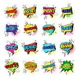 Coleção ajustada dos ícones de Art Style Sound Expression Text do PNF da bolha cômica do bate-papo do discurso ilustração royalty free