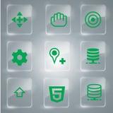 Coleção ajustada dos ícones do verde Foto de Stock