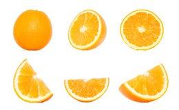 Coleção alaranjada do fruto em variações diferentes isolada sobre o wh imagem de stock