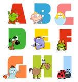 Coleção alegre 1 do alfabeto dos desenhos animados Fotos de Stock Royalty Free