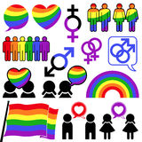Coleção alegre do arco-íris do ícone Imagem de Stock