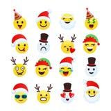 Coleção alegre e engraçada do smiley do Natal ilustração stock