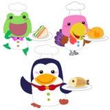 Coleção animal do cozinheiro dos desenhos animados bonitos Imagens de Stock