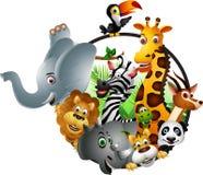 coleção animal engraçada dos desenhos animados dos animais selvagens Fotos de Stock Royalty Free