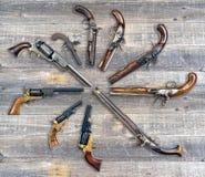 Coleção antiga da pistola Imagem de Stock