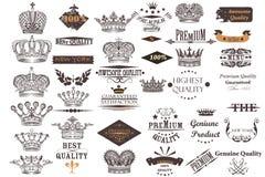 A coleção antiga grande do vetor coroa e etiquetas para o vintage d Fotos de Stock Royalty Free