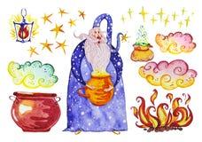 A coleção artística da aquarela mão mágica de elementos tirados projeta isolado no fundo branco Imagens de Stock Royalty Free