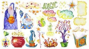 A coleção artística da aquarela mão mágica de elementos tirados projeta isolado no fundo branco Imagem de Stock