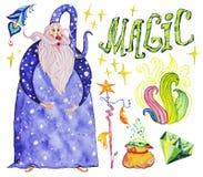 A coleção artística da aquarela mão mágica de elementos tirados projeta isolado no fundo branco Fotografia de Stock Royalty Free
