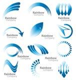 Coleção azul do logotipo do arco-íris Fotografia de Stock Royalty Free