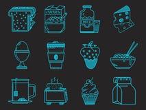 Coleção azul dos ícones do café da manhã Foto de Stock