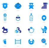 Coleção azul dos ícones do vetor para o bebé Imagens de Stock Royalty Free