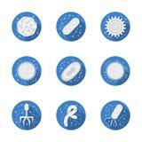 Coleção azul redonda dos ícones dos micróbios patogênicos Foto de Stock