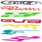 A coleção bonita de linhas coloridas símbolos dos grafittis vector a ilustração Imagem de Stock Royalty Free