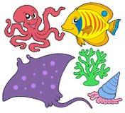 Coleção bonito 4 dos animais marinhos Imagens de Stock Royalty Free