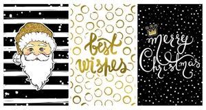 Coleção bonito com os cartões do ano novo feliz 2017 ilustração do vetor