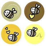 Coleção bonito da abelha do vetor do doodle Imagem de Stock Royalty Free
