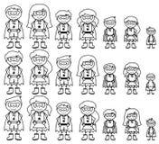 Coleção bonito da figura diversa super-herói da vara ou das famílias do super-herói ilustração do vetor