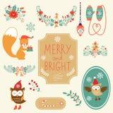 Coleção bonito do clipart do Natal ilustração royalty free