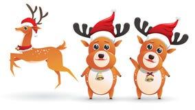 Coleção bonito do grupo da rena de Santa Ilustrações do vetor dos cervos isolados no fundo branco com emoção diferente da pose ilustração do vetor