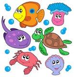 Coleção bonito dos animais marinhos Foto de Stock