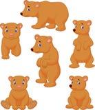 Coleção bonito dos desenhos animados do urso marrom Fotos de Stock Royalty Free