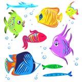 Coleção bonito dos desenhos animados dos peixes Imagens de Stock Royalty Free