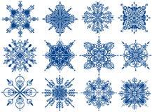 Coleção bonito dos flocos de neve Ilustração do vetor imagem de stock