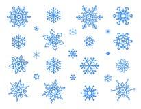 Coleção bonito dos flocos de neve isolada no fundo branco fotografia de stock royalty free