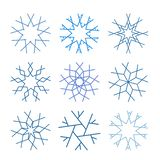 Coleção bonito dos flocos de neve isolada no fundo branco ilustração stock