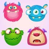 Coleção bonito dos monstro dos desenhos animados Grupo do vetor de 4 ícones do monstro de Dia das Bruxas ilustração do vetor