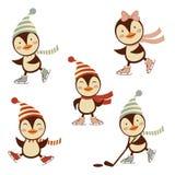 Coleção bonito dos pinguins do patinagem no gelo ilustração stock