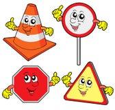 Coleção bonito dos sinais de estrada Imagem de Stock Royalty Free