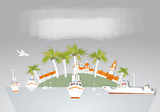Coleção branca da cidade e da cidade do fundo do porto Imagens de Stock Royalty Free