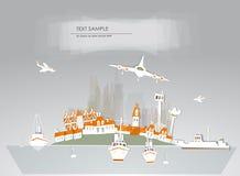 Coleção branca da cidade e da cidade do fundo do porto Imagem de Stock