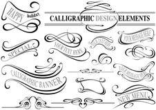 Coleção caligráfica dos elementos ilustração royalty free